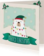 Weihnachtskarte Eisbär mit Lichterkette
