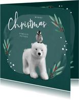 Weihnachtskarte Eisbär mit Pinguin auf dem Kopf