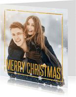 Weihnachtskarte Foto Merry Christmas & Schneeflocken