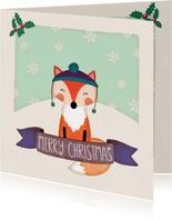 Weihnachtskarte Fuchs mit Wintermütze