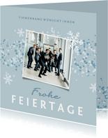 Weihnachtskarte geschäftlich Foto und Schneeflocken