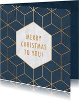 Weihnachtskarte geschäftlich Hexagon Goldlook