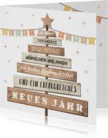 Weihnachtskarte geschäftlich mit Holzweihnachtsbaum