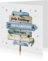 Weihnachtskarte geschäftlich Schilder in grün-blau