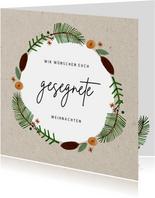 Weihnachtskarte gesegnete Weihnachten mit Kranz