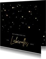 Weihnachtskarte goldene Herzen 'liebevolles 2021'