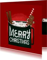 Weihnachtskarte heißer Kakao mit Zimtstangen und Lebkuchen