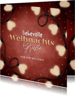 Weihnachtskarte Herzchen Lichterkette