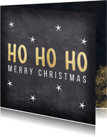 Weihnachtskarte 'HO HO HO' im Kreidelook
