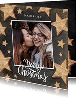 Weihnachtskarte Holzsterne, Foto und Merry Christmas