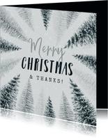 Weihnachtskarte international Tannenbäume & Schnee