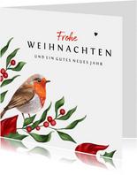 Weihnachtskarte klassisch Rotkehlchen & Winterzweige