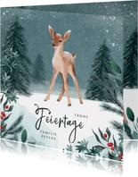 Weihnachtskarte kleines Reh im Winterwald