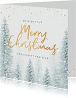 Weihnachtskarte Kunden international Winterwald