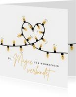 Weihnachtskarte Lichterkette Herz
