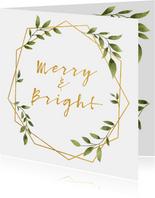 Weihnachtskarte 'merry&bright' mit Foto und grünen Blättern