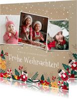 Weihnachtskarte mit 3 Fotos und lustigen Illustrationen