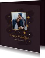 Weihnachtskarte mit Foto und Sternen