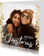 Weihnachtskarte mit Goldakzenten und großem Foto