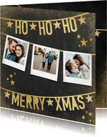 Weihnachtskarte mit Polaroidfotos und Text in Goldlook