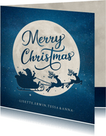 Weihnachtskarte mit Schlitten-Silhouette und Mond
