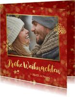 Weihnachtskarte rot mit Goldkonfetti und Fotos