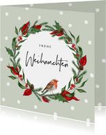 Weihnachtskarte Rotkehlchen in Weihnachtskranz