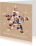 Weihnachtskarte Stern-Fotocollage mit Zuckerstangen