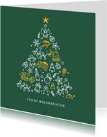 Weihnachtskarte Tannenbaum Baustellen Abbildungen