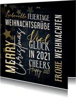 Weihnachtskarte Text in Goldlook