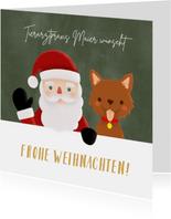 Weihnachtskarte Tierarztpraxis Weihnachtsmann & Hund