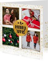 Weihnachtskarte vier Fotos und Goldkonfetti