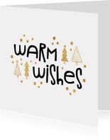 Weihnachtskarte 'Warm wishes' weiß und gold