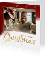 Weihnachtskarte Wasserfarbe rot, Sterne und großes Foto
