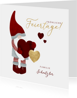 Weihnachtskarte Weihnachtsmann mit Herz