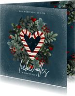 Weihnachtskarte Zuckerstangen Herz
