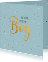 Welcome baby boy-gold felicitatie geboorte