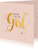 Welcome little girl-gold felicitatie geboorte