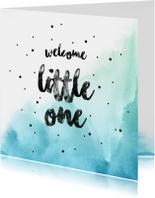 Felicitatiekaarten - Welcome little one Boy  blauwe watercolour