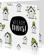 Welkom thuis kaart met kleine schattige huisjes