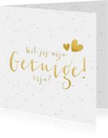 Wil je mijn getuige zijn kaart met gouden tekst en confetti