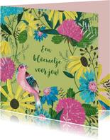 Wilde bloemen en een vogeltje