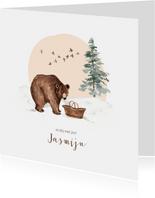 Winter geboortekaartje beer babymandje sneeuw
