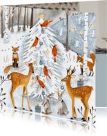 Winter wonderland kerstboom en dieren