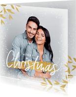 Winterliche Weihnachtskarte mit Foto & goldenen Zweigen