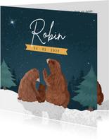 Winters geboortekaartje met illustratie van 3 beren