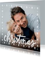 Winterse kerstkaart, grote foto en christmas