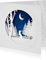 Winterse kerstkaart uitgeknipt papier