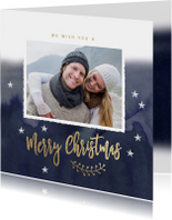 Kerstkaarten - Winterse vierkante kerstkaart sterren donker blauw