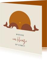 Woehoe zwanger felicitatiekaart met illustratie walvissen